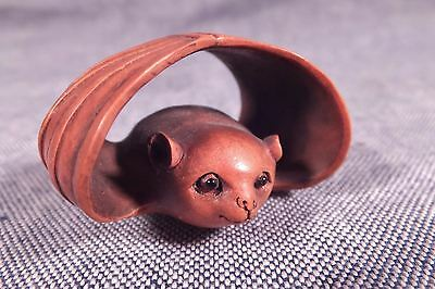 Signed Japanese Netsuke Top Quality Carving BOXWOOD BAT MEIJI