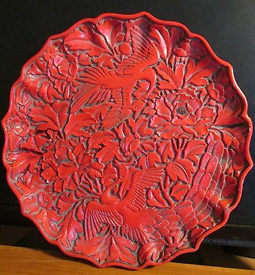 "RARE Chinese Cinnabar Lacquer Carved Red/Black Plate (9.75"") Asian"