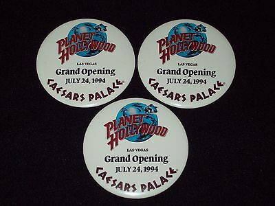 Set of 3 Planet Hollywood Pin-back Buttons - Caesars Palace Grand Opening - LV