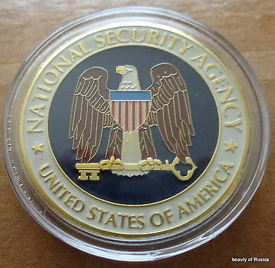 USA NSA National Security agency  24K GOLD  PLATED 40 mm  Challenge  COIN
