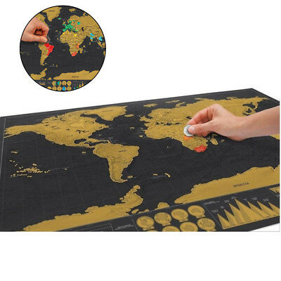 Deluxe Travel Edition Scratch Off World Map Poster Home Decor Personalized Gift