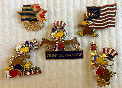 Vintage Lot 5x LOS ANGELES 1984 OLYMPICS PINS IN PLASTIC CASE