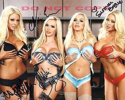 REPRINT RP 8x10 Signed Photo:Summer Brielle,Courtney Taylor,Nikki Benz,Nina Elle