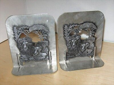 1974 Metzke Pewter Lions Bookend Set