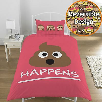 Emoji Mr Poo Single Duvet Cover Set Kids Bedding - 2 Designs In 1 Pink