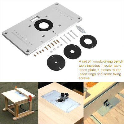 Aluminum Router Woodworking Benches Table Insert Plate with 4pcs Rings Screws EB