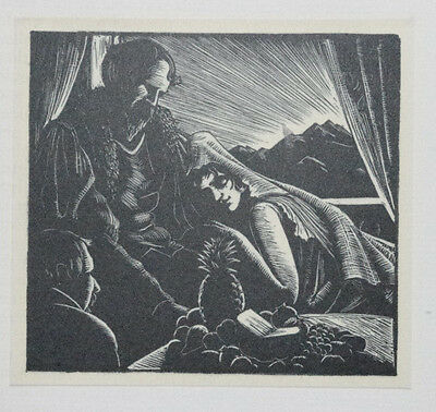 SUNRISE OVER THE ANDES, 3 SPANISH FIGURES : 1929 Woodcut Print By CLARE LEIGHTON