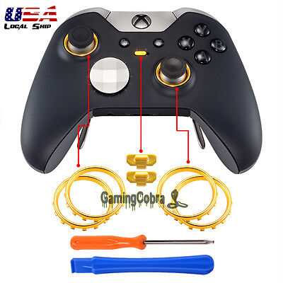 Matte Chrome Gold Button Circle Rings Repair Parts for Xbox One Elite Controller