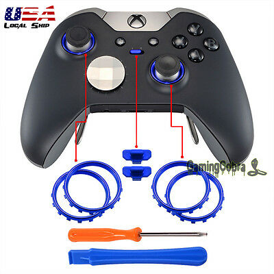 Matte Chrome Blue Button Circle Rings Repair Parts for Xbox One Elite Controller