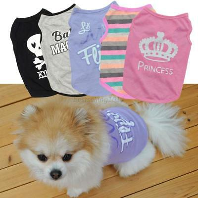 US Pet Puppy Small Dog Cat Cotton Pet Clothes Dress Vest T Shirt Apparel Clothes