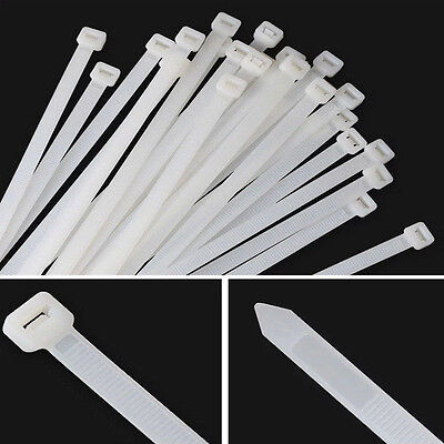 White Nylon Plastic Cable Ties Heavy Duty Industrial Wire Zip Tie Cord Strap Lot