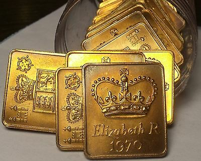 Roll (20) Great Britain 1970 Queen Elizabeth Proof Set Medallions~Free Shipping
