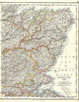 Antique MAP ~ SCOTLAND (East) ~ W. & A. K. Johnston 1915 Original 100+ Years Old