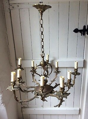 Ornate Antique Bronze French Style 10 Arm Chandelier (792)