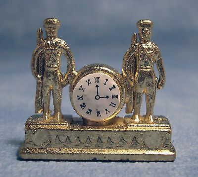 """Dolls House 1/12 Scale  """"gold"""" Mantel Clock Soldiers Design"""