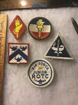 Lot Of 5 Military Schools/ROTC Patches Cut Edge