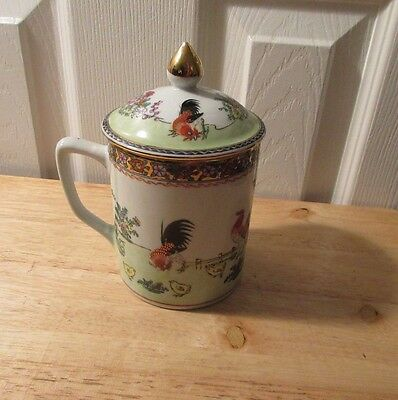 Vtg Chinese Asian coffee Tea Cup mug lid ornate rooster floral gold trim China