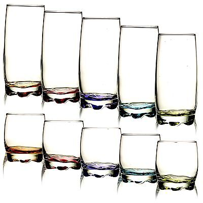 Set Of 3 6 Tall Coloured Flower Base Glass Drinking Tumbler Whiskey Cups Glasses