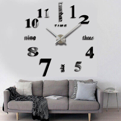 DIY Large 3D Wall Clock Luxury Mirror Home Bedroom Decoration cheap Price Sale
