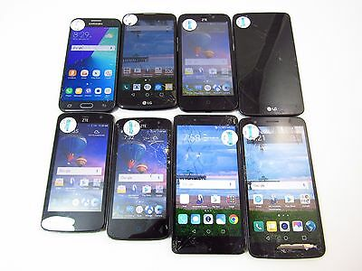 Lot of 8 Assorted Cracked TracFone Check ESN CR12