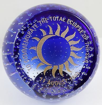 Limited Edition Caithness Glass Total Eclipse of Sun 1999 Paperweight 128/500