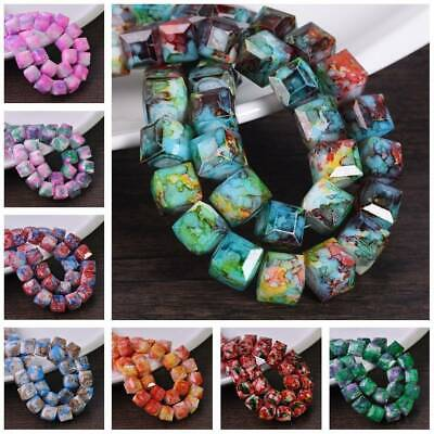 8/10mm Charm Glass Czech Square Cube Faceted Loose Spacer Beads Jewelry Findings