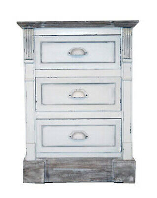 Charles Bentley Shabby Chic 3 Drawer Bedside Table in White Made of MDF