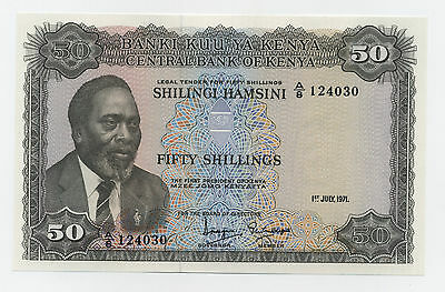 Kenya 50 Shillings 1-7-1971 Pick 9.b UNC Uncirculated Banknote