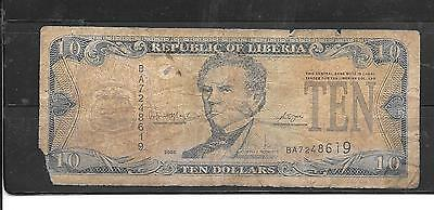 LIBERIA #27c 2006 GOOD-NICE USED $10 BANKNOTE PAPER MONEY BILL NOTE