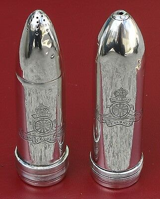 A pair of rare Sterling Silver Royal Artillery crested condiments 1918