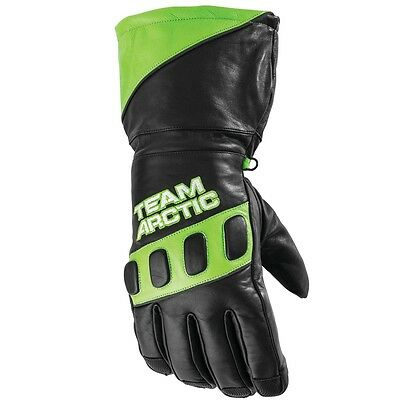 Arctic Cat Adult Team Arctic Hi-Cuff Insulated Leather Gloves - Green - 5262-02_