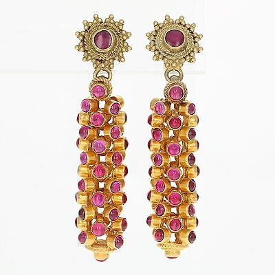 Vintage Ruby Dangle Earrings - 22k, 21k, & 14k Gold Cabochon Pierced 11.50ctw