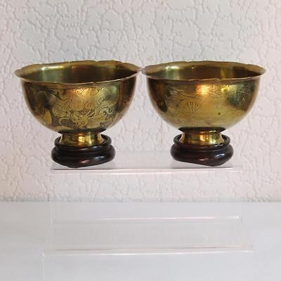 Two  Antique Decorative Japanese Meji Brass Bowls with Stands