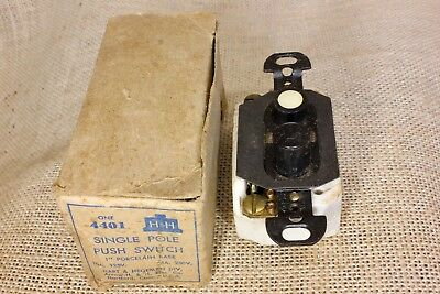 Push Button Light Switch old stock vintage mother of pearl single pole H&H NOS
