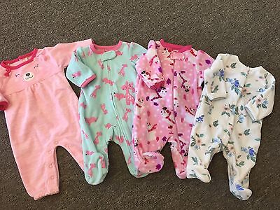 Lot of 4 Baby Girl's Newborn Fleece Footed Sleeper Pajamas Romper Carters