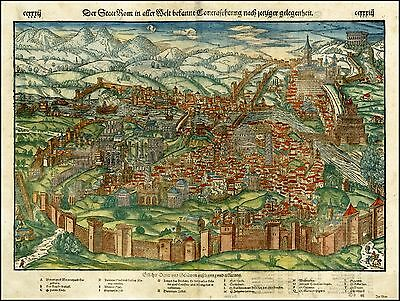 1560 ca view of Rome fortified walls and Seven Hills Eternal City map 26281
