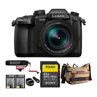 Panasonic LUMIX GH5 4K Mirrorless Camera w/ Lecia 12-60mm w/ 64GB UHS-II Kit