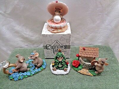 Lot of 4 Retired Dean Griff / Fitz & Floyd Charming Tails Mackenzie Mouse