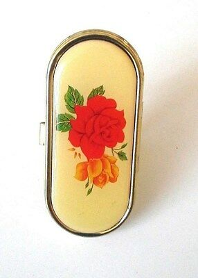 """Retro Large Red Rose 2.5"""" x 1.25"""" Surprise Mirror Adjustable Gold Plated Ring"""