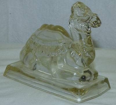 Old Figural Pattern Glass Camel Candy Container Shriners Masonic Fraternal