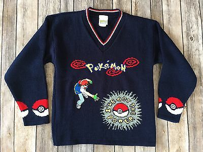 Vtg 90's Nintendo Pokémon Sweater Boys Medium 1059 Navy Embroiderd Ash Ketchum