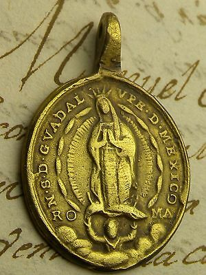 Antique Immaculate Heart Our Lady of Guadalupe Spanish Colonial Shipwreck Medal