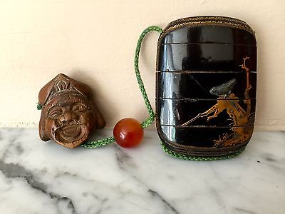 19th C Japanese Antique INRO Glass Ojime Netsuke~Makie Bird and Ox