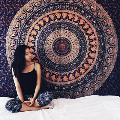Indian Tapestry Wall Hanging Mandala Decor Hippie Bedspread Bohemian Throw  Art