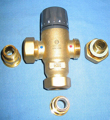 "CALEFFI Adjustable Thermostatic Mixing Valve #521400A 1/2"" NPT Lead Free in Box"