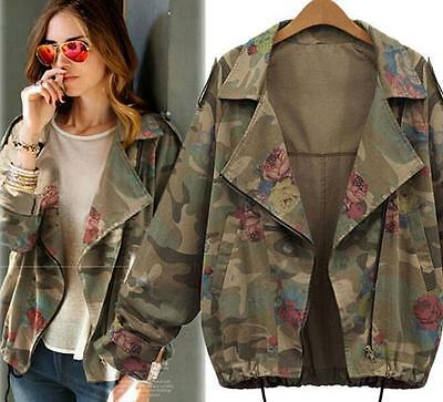 Retro Camo Print Womens Casual Camouflage Jacket Lapel Short Coat Tops Outwear