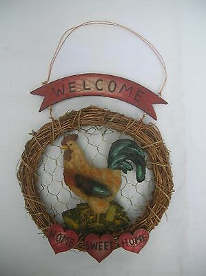 Country Rooster Welcome Home Sweet Home Wreath Sign