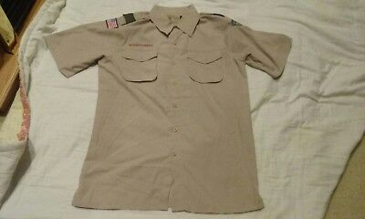 Boy Scouts of America khaki short sleeve vented  shirt Size Mens Small