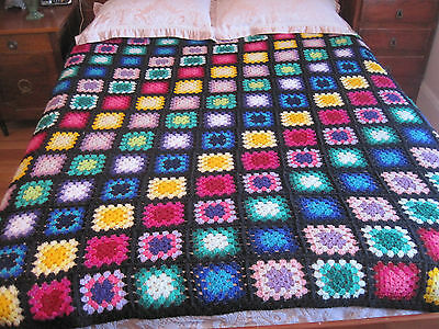 Gorgeous Large Bright And Colourful Nana Crochet Squares Throw Rug Bedspread