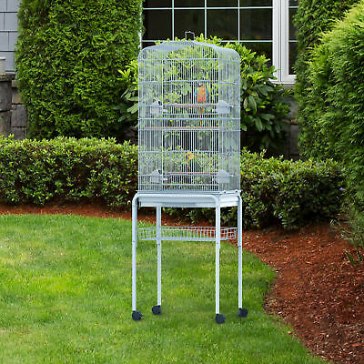 "PawHut 63""Bird Large Cage Metal w/ Wheels Parrot Finch Pet Supplies Tray White"